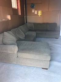 Light forest green fabric sectional sofa with ottoman Innisfil, L9S 4B8