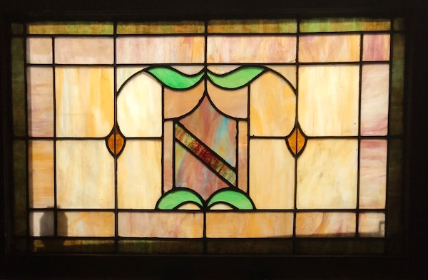 Early 1900's double hung stained glass panel e8ac5f04-1a31-4549-a685-445e640b72e7