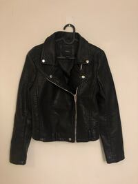 black leather zip-up jacket Toronto, M6K 0A4
