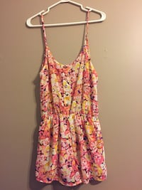 women's pink and yellow floral spaghetti-strap rompers Belleville, K8P