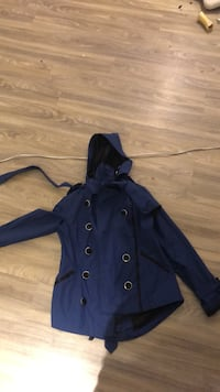 Blue button-up long sleeve rain coat  Toronto, M3M 1P4