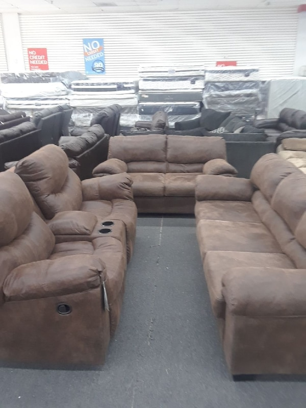 Used Gray Suede Recliner Sofa Set For Sale In Lawrenceville Letgo