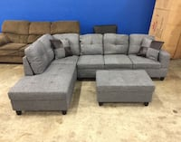 Brand New Gray Linen Sectional Couch With Storage Ottoman And Pillows  Maple Valley, 98038