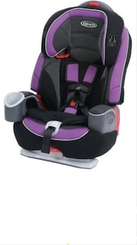 Baby's black, gray, and purple Graco car seat