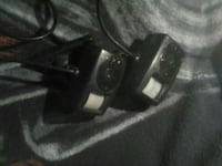 two black corded devices