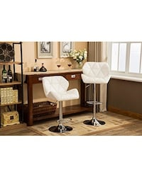 2x Brand New White leather bar stools chair Brea