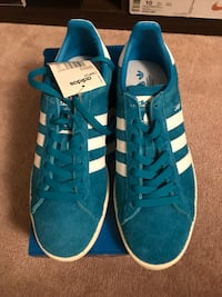 Pair of blue-and-white adidas low-top sneakers
