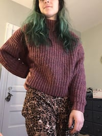Purple Cable Knit Partial-Crop Sweater