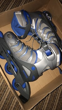 Pair of white-and-blue inline skates
