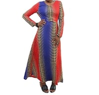women's blue, red, and brown crew-neck long-sleeve dress