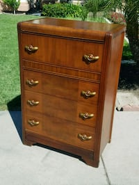 brown wooden 5-drawer tallboy dresser Modesto, 95356