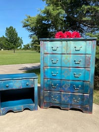 Chest of drawers and nightstand set. Boho shabby chic hand painted