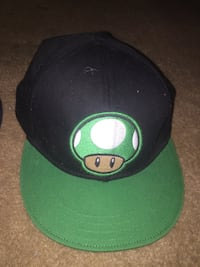 16bd359d185 Used Black and green super mario green mushroom character fitted cap ...