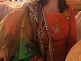 Orange, green and Gold indian suite with pajama
