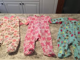 3 outfits - 3-6 months baby girl fleece sleepers with feet