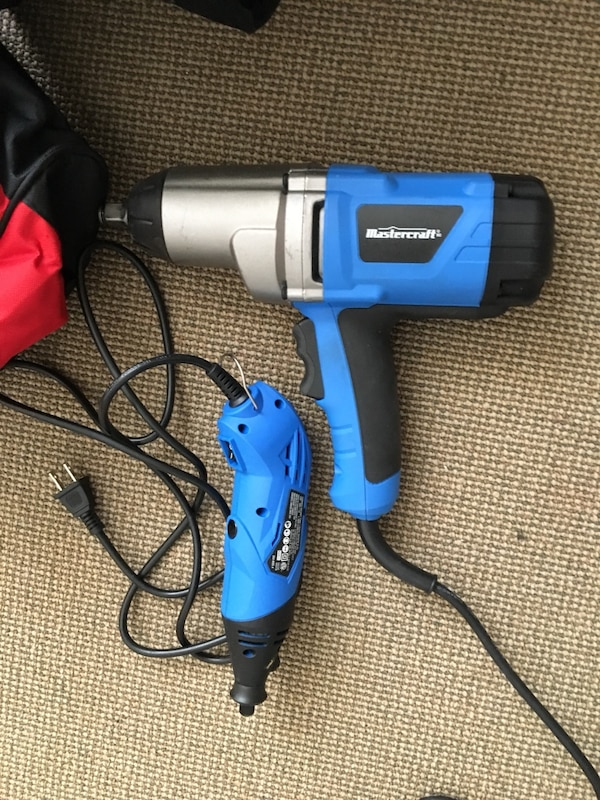 Blue and grey corded impact wrench and rotary tool with tool bags all $40