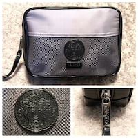 Men's Versace Toiletry bag with dust bag. Brand new never used. Excellent condition! Men's Versace perfume's toiletry bag great for traveling. Depth 11in, Width 5in, Height 7in, Length 11in