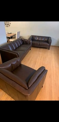 Brand New Brown Leather Sofa, Loveseat and Chair