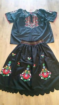 Hand embroidered skirt and shirt size medium Cambridge