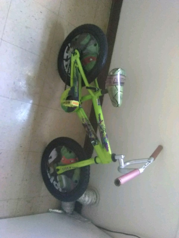 toddler's green and black bicycle