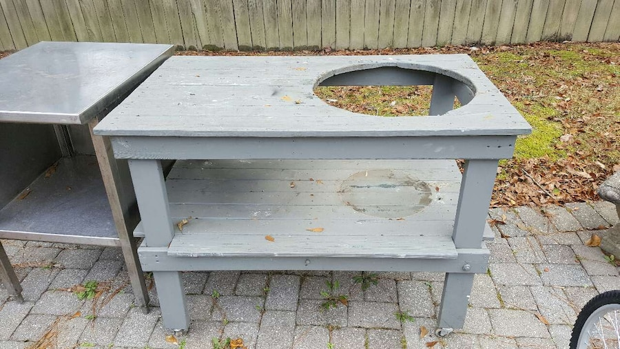 Big Green Egg Wood Table + Stainless Steel Table In Marietta   Letgo