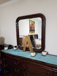 rectangular brown wooden framed mirror MOBILE
