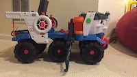 blue white and orange plastic truck toy