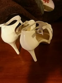 pair of white leather open-toe kitty heeled sandals Myrtle Beach, 29588