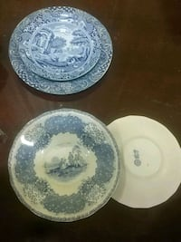 two white and blue ceramic plates Montreal, H4L 2V5