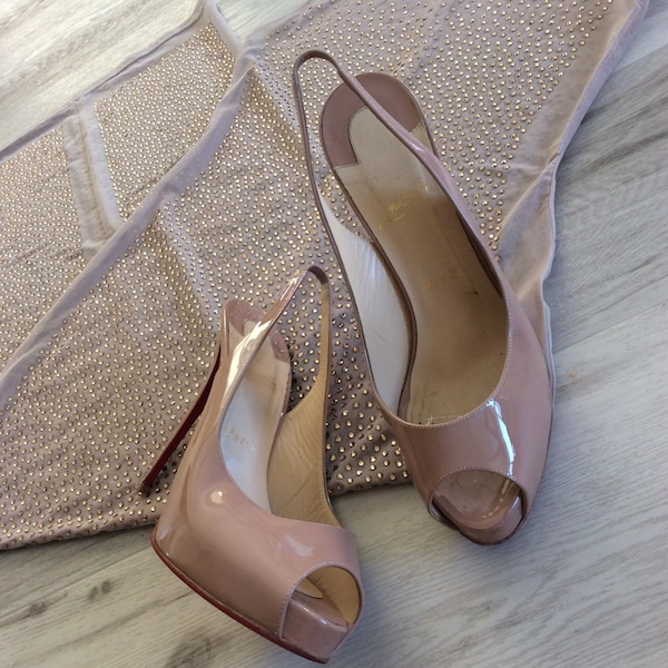 56730235f385 Used 100mm peep toe Christian Louboutin patent nude heels for sale in  Kelowna - letgo