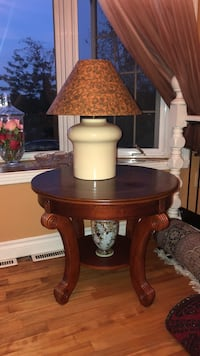 Brown wooden base glass top table with lamp  Laval, H7X 2L4