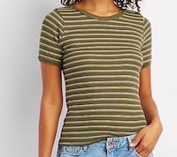 new charlotte russe olive green striped top size small. Colton, 92324