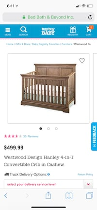 Westwood design Hanley convertible crib in cashew color. Loved and used for two years. Very well made. Perfect condition other than some bite marks on the inside of the front and inside of the side railings (Pictured). Already disassembled and ready to go Willowbrook, 60527