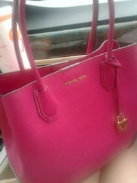 red Michael Kors leather tote bag
