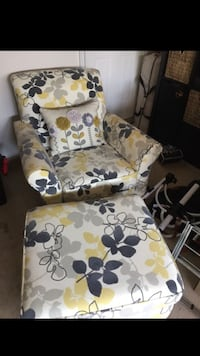 white, blue, and yellow floral armchair Aldie, 20105