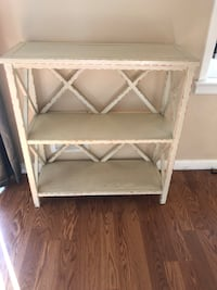 Off white  wooden 3-layer rack.  13 inches deep. 33 1/2 wide 36 high. Priced to sell Huntington
