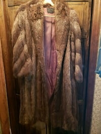 brown and black fur coat