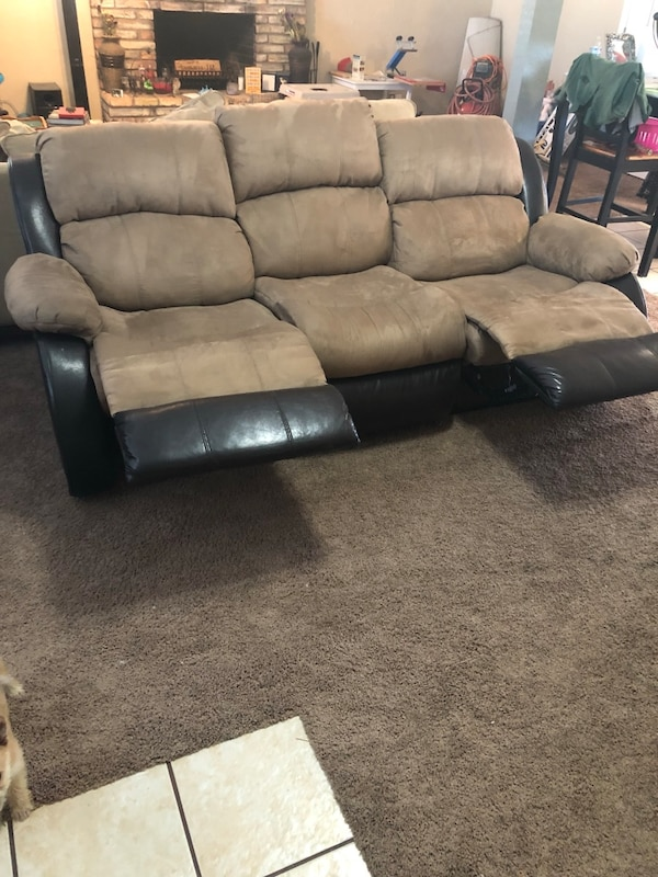 Gray leather 3-seat recliner sofa