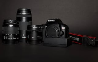 Canon DSLR T6 and Lens 50mm, 18-55mm and 75-300mm