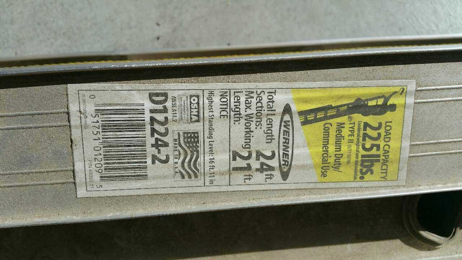 Used Werner D1224‑2 24 Ft Aluminum Extension Ladder In Corona