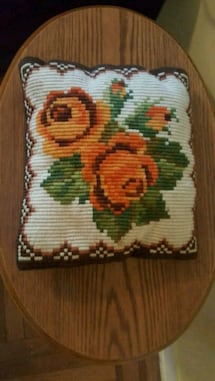 Vintage 1970s Floral Hand Knit Throw Pillow