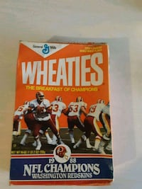 Redskins Wheaties box open and with wear  Hagerstown, 21740