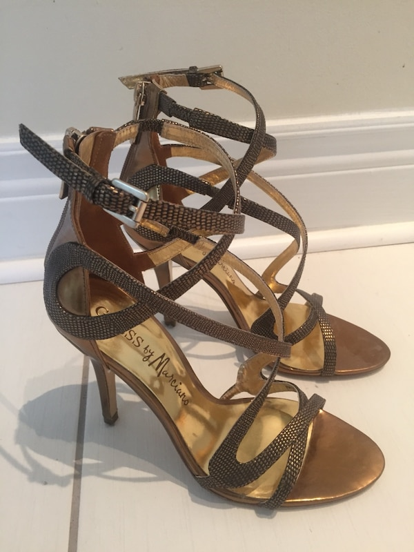 Marciano gold strappy heels