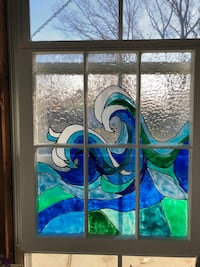 Hand painted wave on old window