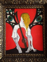 Yellow black white and red female musician abstract painting Toronto, M8Z 2G4