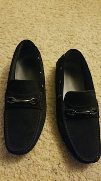 pair of black suede loafers