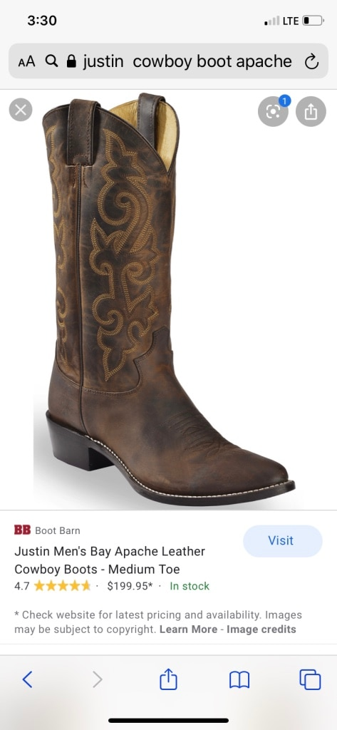Photo Size 9 pair of Justin boots for sale.