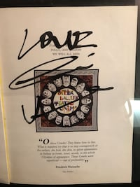 Gianni Versace original autograph. Framed in glass, excellent condition.