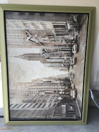 Painting of city building in green frame Wilmot, N3A
