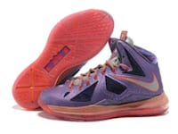 pair of purple-and-pink Nike basketball shoes Lacy Lakeview, 76705